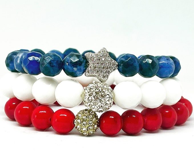 Patriot Bracelet Stack of White and Red  Jade - Sodalite Beaded Bracelet- Forth of July Gemstone Beaded Stack Bracelet - Stretch Bracelet