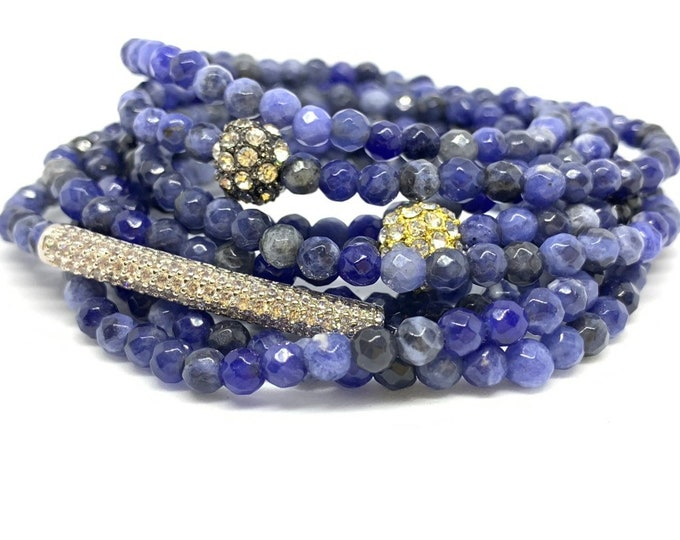 Sodalite Triple Wrap Stone Bracelet- A gemstone to support you in being hear/communication