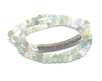 4mm Morganite Triple Wrap Stone Bracelet with Beautiful Pastel Tone.  A Stone of Compassion.