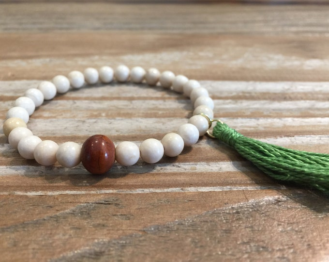 Fossil Bracelet- Fossil Stone Bracelet- Fossil Beaded Bracelet- Stone Bracelet for Motivation-  Gift for Men- Holiday Gift- Gift for Her