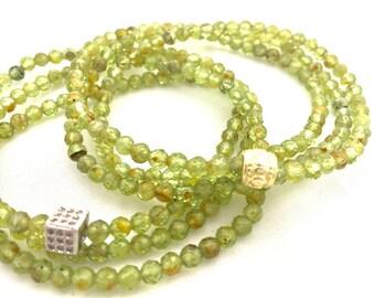 August Birthstone - Green Peridot Triple Wrap Bracelet - Green Gemstone Bracelet- 4mm Faceted Natural Peridot- August Birthday