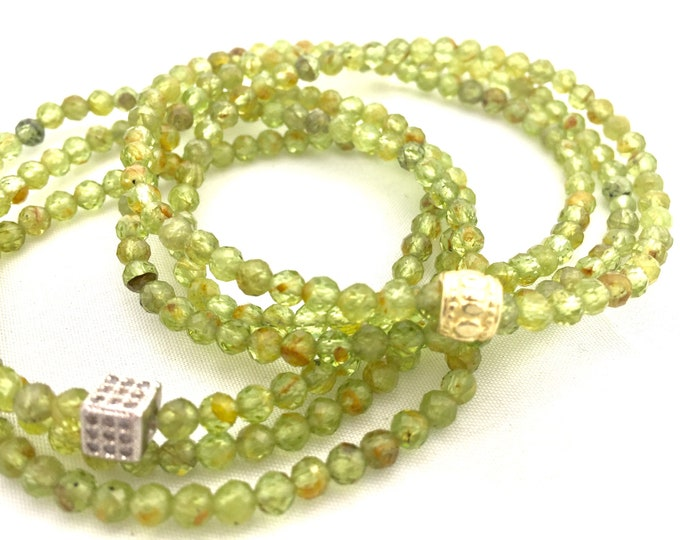 August Birthstone - Green Peridot Triple Wrap Bracelet - Green Gemstone Bracelet- 4mm Faceted Natural Peridot- August Birthday