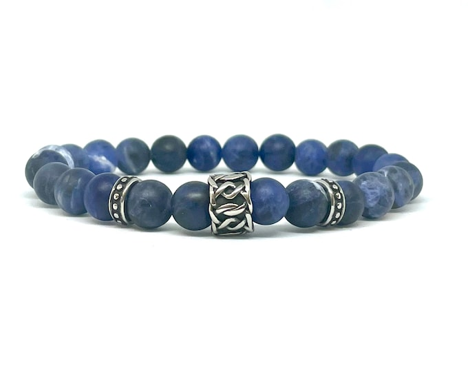 Men's Sodalite Bracelet- Unisex Blue Bead Bracelet- Stack Bracelet- Gemstone Beaded Bracelet- Communication Jewelry- Gift for Him and Her