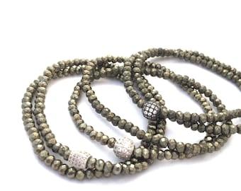 Double Wrap Pyrite Bracelet