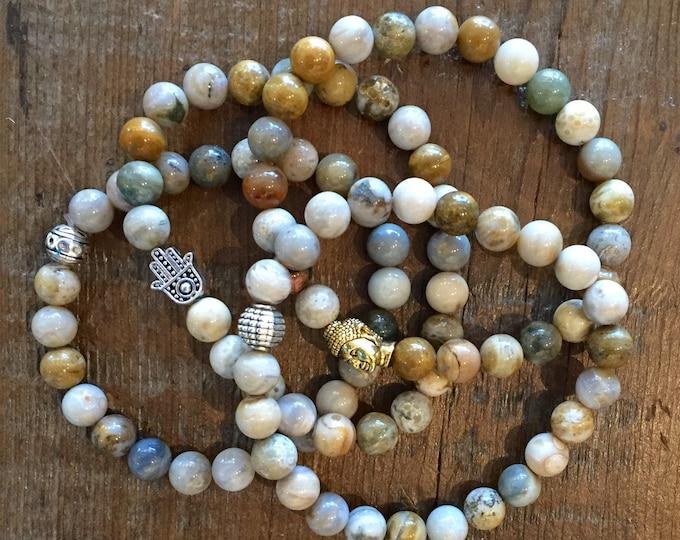 Unisex Jasper Bracelet- Mens Stone Bracelet- Ocean Jasper Bracelet- Stocking Stuffer- Beaded Jasper Bracelet- Gift fro Her- Gift for Him