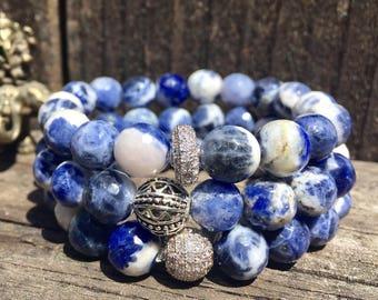 Sodalite Bracelet- Blue Bead Bracelet- Stack Bracelet- Gemstone Beaded Bracelet- Communication Jewelry- Gift for Her- Mothers Day Gift