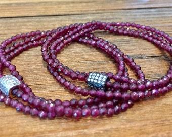 January Birthstone- Red Garnet Bracelet- Triple Wrap Garnet Gemstone Slip on Bracelet- Gift for Her- Holiday Gift- Free Priority Shipping