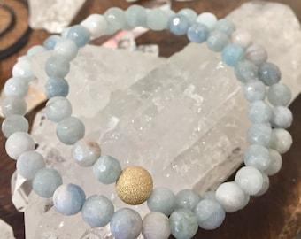 Faceted Aquamarine Gemstone Bracelet-  Double Wrap 6mm Beaded Bracelet- Stack Bracelet- Calming Soothing Gemstone-  Mothers Day Gift