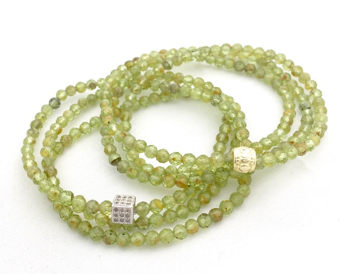 Gorgeous Green Peridot Triple Wrap Bracelet - August Birthday