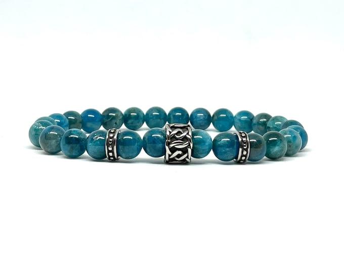 Unisex Apatite Gemstone Bracelet-  Men's and Women's Stack Bracelet- Manifestation Gemstone- Beaded Stone Bracelet - Gift for Him and Her