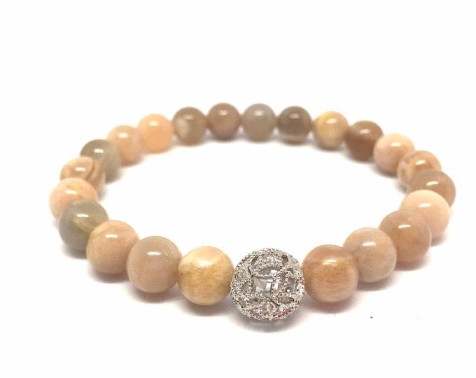 Sunstone Gemstone Beaded Bracelet- Stack Stone Bracelet- Beige and Peach Toned Natural Gemstone Bracelet - Gift for Her- Girlfriend Gift