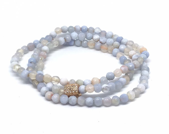Light Blue Agate Triple Wrap Bracelet- 4mm Blue Agate Bracelet- Blue Beaded Bracelet- Gift For Her- All Ages Girl Gift- Bridal Shower Gift