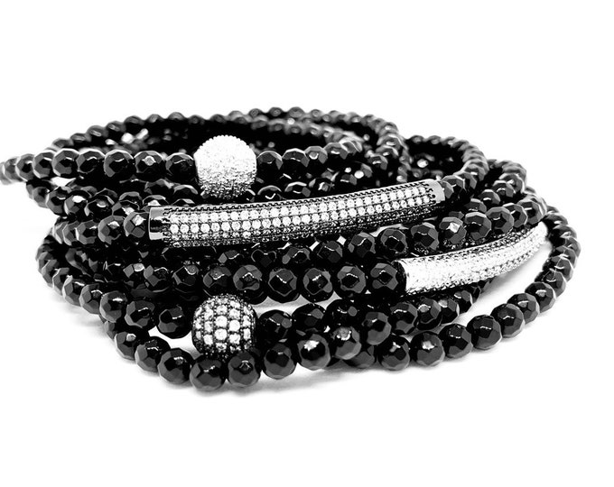Black Agate Triple Wrap Stone Bracelet- Ground Jewelry