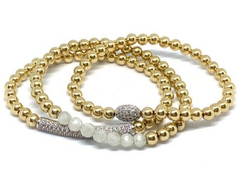 14k Gold Filled Beaded Bracelets with Moonstones and Bling