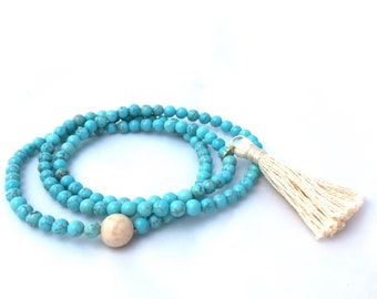 Turquoise Gemstone 4mm Triple Wrap Bracelet- Turquoise Beaded Bracelet- Mala Bracelet with Tassel- Friendship Gift- Gift for Her- Graduation