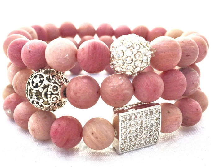 Rhodochrosite Beaded Bracelet-  Pink Gemstone Bracelet- Heart Centered Stone- Stack Bracelet- Gift  for Her- Graduation Gift- Friendship