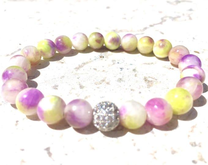 Persian Jade Bracelet - Natural Gemstone Bracelet-  Stackable Braclets- Grounding Gemstone - Calming Stone - Girlfriend Gift - Gift for Her