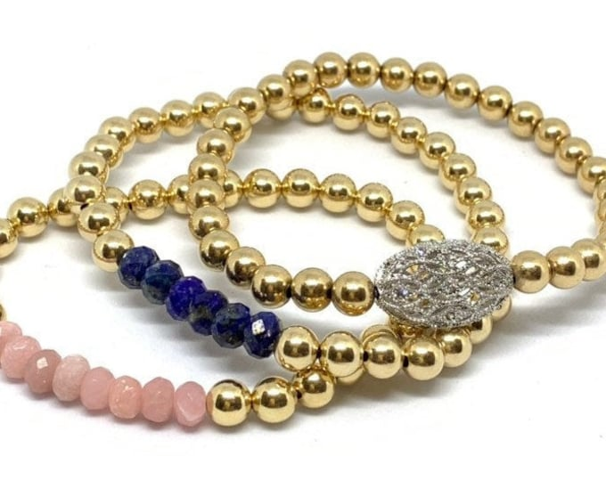 14k Gold Filled Beaded Bracelets with Natural Gemstones and Bling