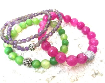 Stack Bracelets, Amethyst, Hot Pink and Green Agate.