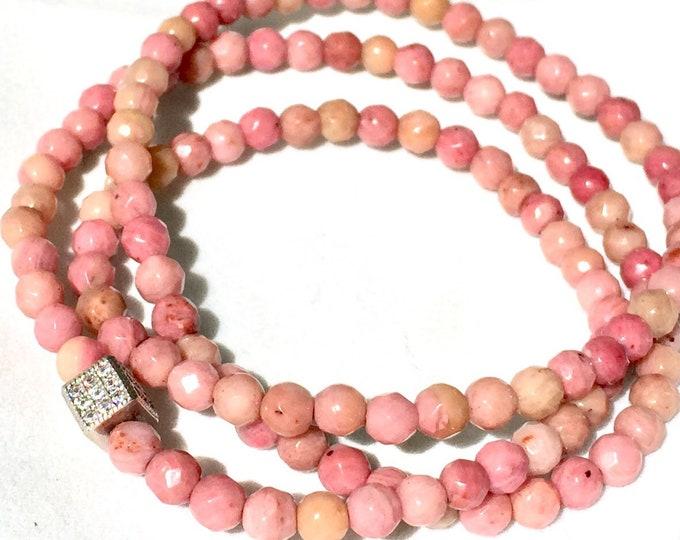 Rhodochrosite Triple Wrap Beaded Bracelet-  Pink Gemstone Bracelet- Love Stone- Stack Bracelet- Gift  for Her- Gradustion - Free Shipping