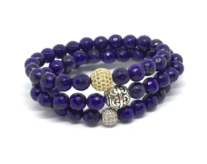 Lapis Lazuli Blue Gemstone Bracelet - Great for Meditation!