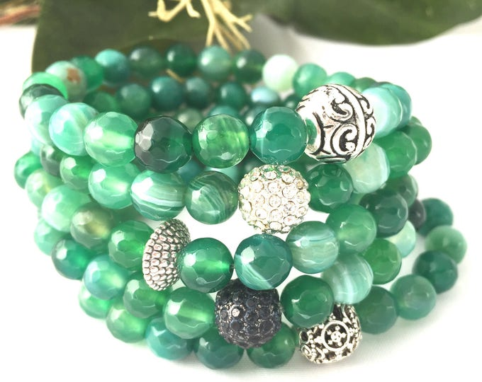 Green Agate Beaded Bracelet- Holiday Bracelet- Faceted 8mm Agate Gemstone Stack Bracelet- Gemstone Bracelet- Gift for Her- Girlfriend Gift