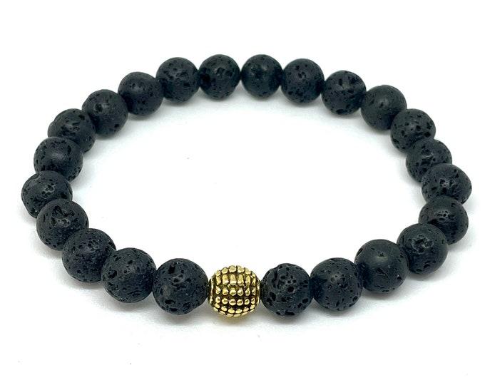 Men's Lava Bracelet- Men's Black Slip on Black Bracelet-Men's and Women's Stone Aromatherapy Bracelet - Beaded Bracelet Gift for Him and Her