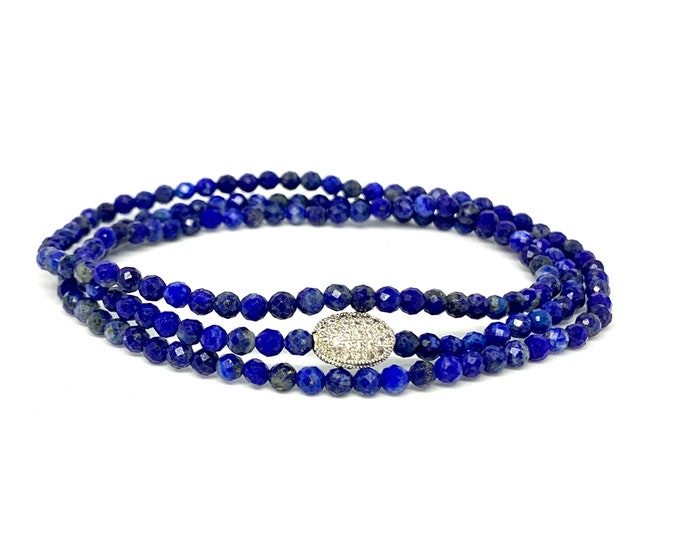 Lapis Lazuli Blue 4mm Faceted Beaded  Stack bracelet-Blue Gemstone Triple Wrap Bracelet-Meditation Jewelry-Gift for Her-Slip on Bracelet