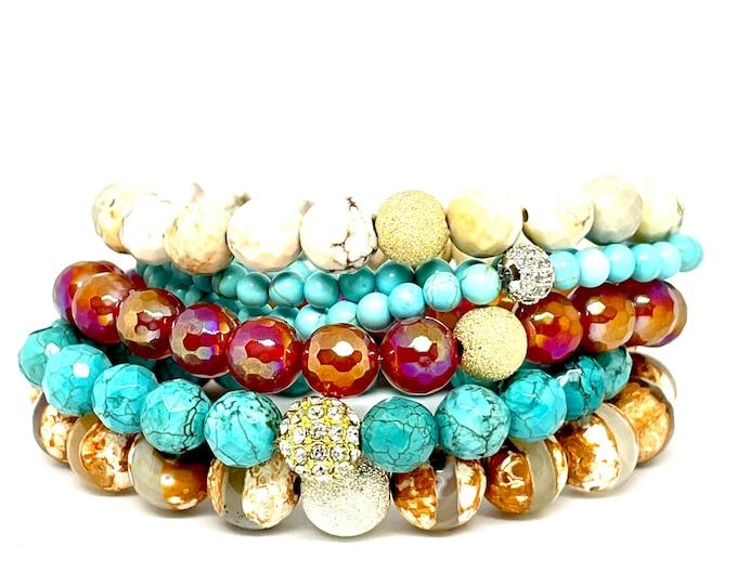 Caribbean Gemstone Bracelet Stack - 5 Bracelet Natural Stone Stack - Turquoise - Opulence Agate - Howlite - dzAgate -  Beaded Bracelet Stack