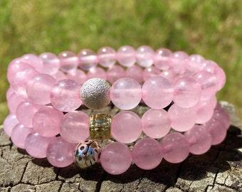 Rose Quartz Smooth 8mm Slip on Bracelet-  Pink Gemstone Bracelet- Girls Bracelet- Love Energy Gemstone- Girlfriend Gift- Holiday Gift