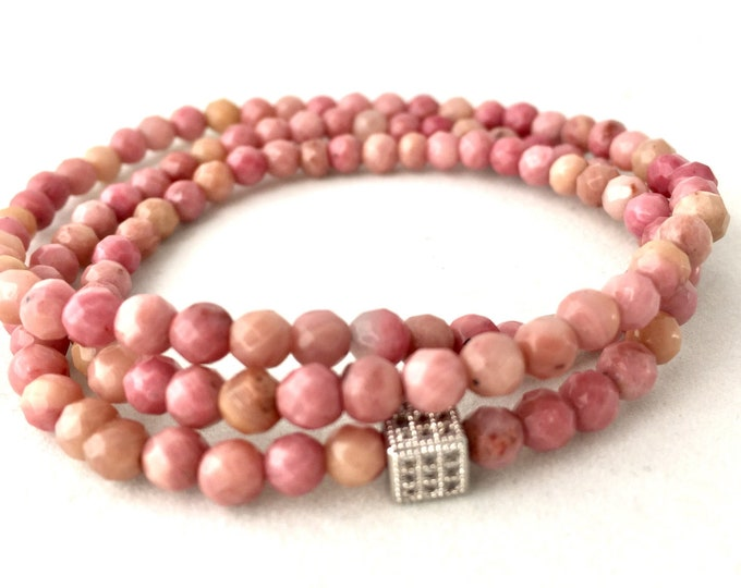 Rhodochrosite Triple Wrap Beaded Bracelet-  Pink Gemstone Bracelet- Love Stone- Stack Bracelet- Gift  for Her- Graduation - Free Shipping