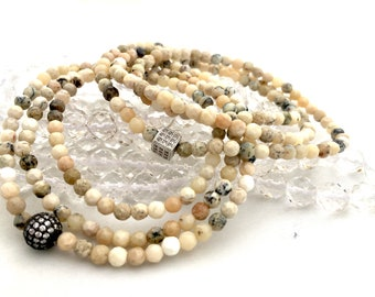 Faceted White Opal Triple Wrap 4mm Beaded Bracelet- tone- A Stone of Happiness and Optimism