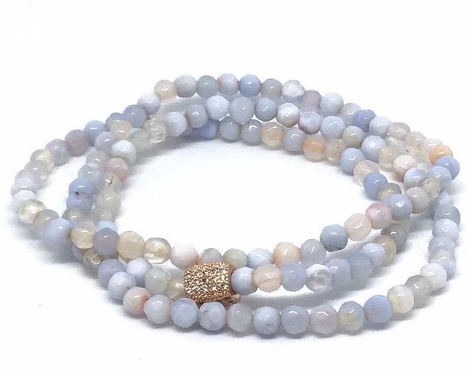 Light Blue Agate Triple Wrap Bracelet- 4mm Blue Agate Bracelet- Blue Beaded Bracelet- Graduation - All Ages Girl Gift- Bridal Shower Gift
