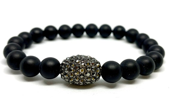 Smooth 8mm Matte Black Agate Bracelet - Beaded Gemstone Bracelet - Stack Bracelet - Men and Women Beaded Slip on - Unisex Beaded Bracelet