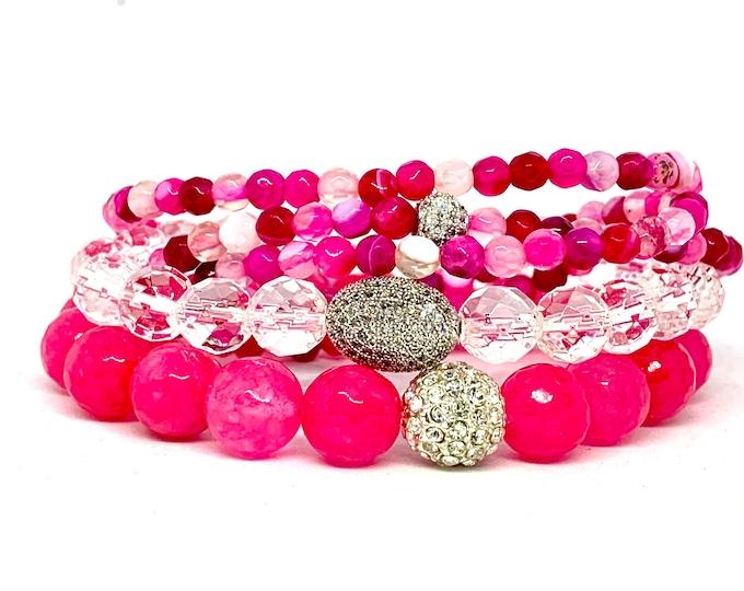 Pretty Pink Stack- Pink Stone Bracelet- Pink Beaded Bracelet- Triple Wrap Pink Agate - Gemstone Bracelet- Gemstone Bracelet-  Gift for Her