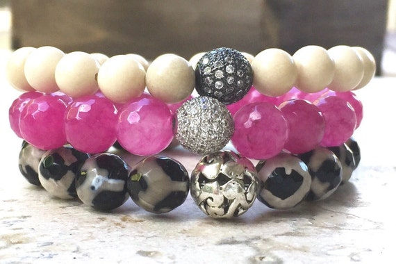 The Wild Side Bracelet Stack with Fossil and Agate Stone Beads- Beaded Gemstone Bracelets- Gift for Her- Hot Pink Stone Bracelet