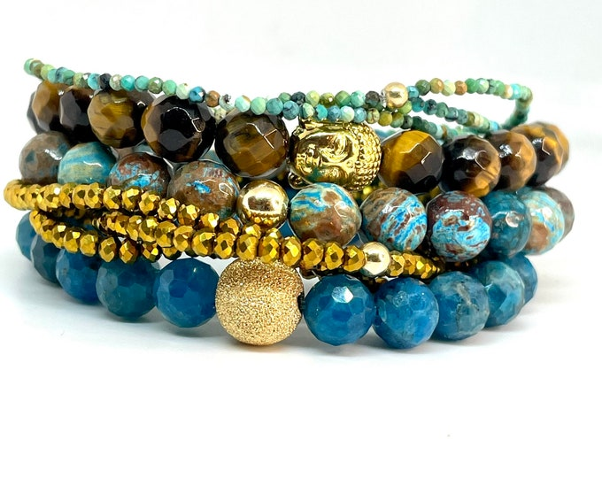 Apatite, Jasper, Tiger Eye, African Turquoise Bracelet Stack with sparkle gold glass beaded wrap bracelet- Beaded bracelet set-Gift for her