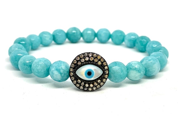 Blue Beaded Evil Eye Bracelet- Evil Eye Slide Charm Bracelet- Colored White Jade Bracelet- Girlfriend Gift- Graduation Gift-Gift for Her