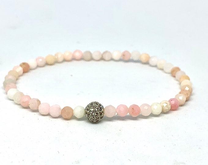 Faceted Pink Opal Gemstone Bracelet Triple Wrap Beaded Bracelet