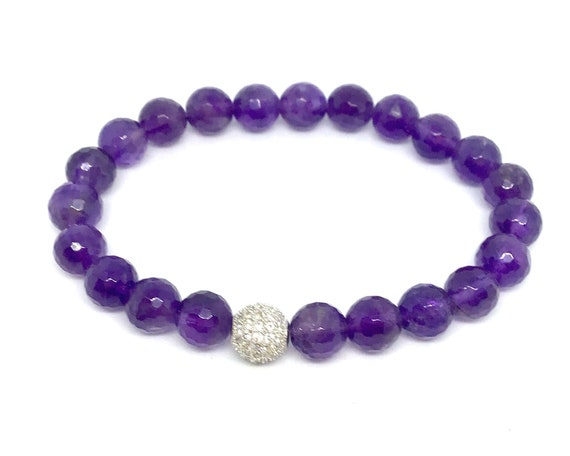 February Birthstone- Faceted Amethyst Bracelet- Reduces Stress and Anxiety- Amethyst Gemstone Bracelet-  Gift for Her