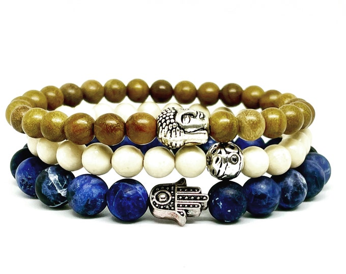 Three Bracelet Stack of Sodalite Fossil and Sandalwood