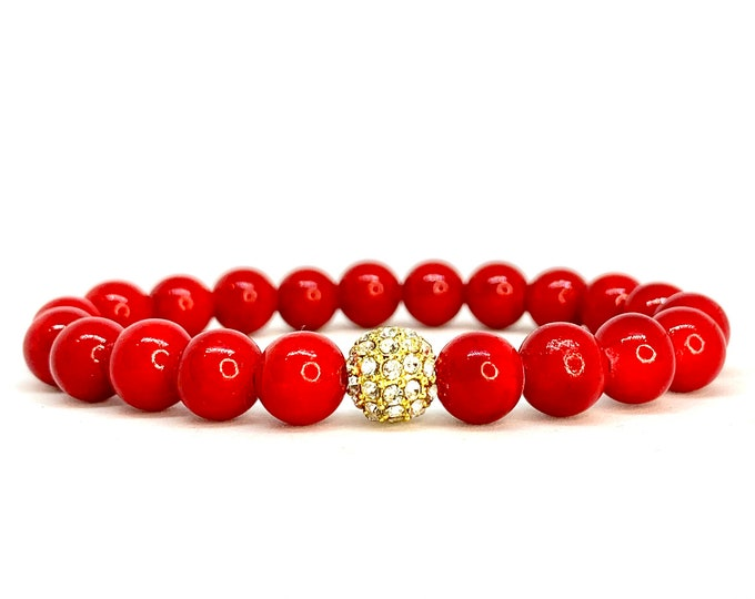 Red Mashan Jade Gemstone Bracelet-Beaded Stone Bracelets- Stack and Stretch Bracelets- Grounding Jewelry-Christmas Gift-Gift for Her and Him