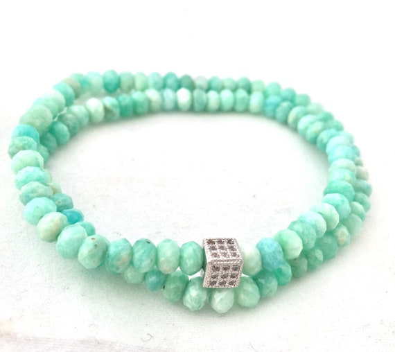 Natural Faceted Amazonite Double Wrap Bracelet- A stone supporting communication.