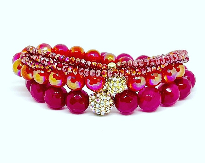 Opulent  Red and Deep Pink Stack with Triple wrap Bling Glass Beads
