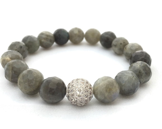 Gray Labradorite Gemstone Bracelet- 10mm Faceted Labradorite- Stack Bracelet- Beaded Stone Bracelet- Mothers Day Gift- Powerful Gemstone