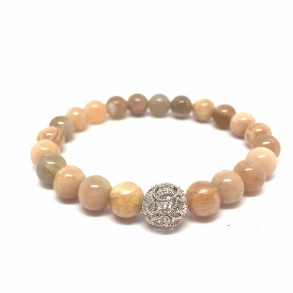 Sunstone Gemstone Beaded Bracelet- Stack Stone Bracelet- Beige and Peach Toned Natural Gemstone Bracelet - Gift for Her- Girlfriend Gift