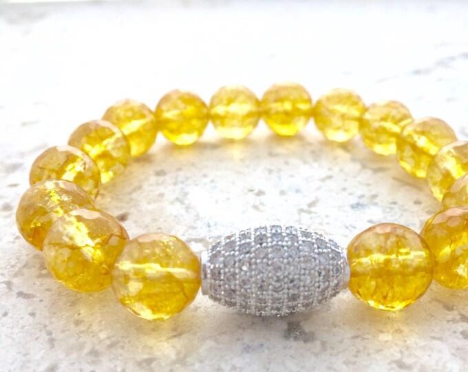 Citrine Gemstone Bracelet- November Birthstone- Faceted Citrine Bracelet- Stack Bracelet- Gift For Her- Mother's Day Gift-Slip on Bracelet