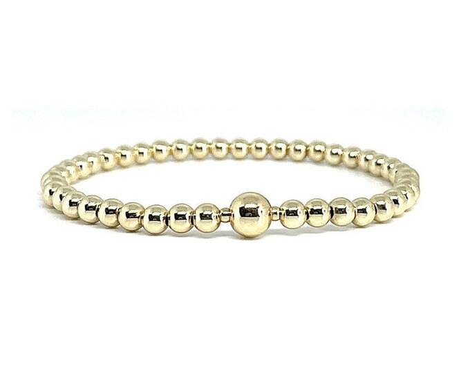 4mm 14k Gold Filled Beaded Bracelets - Layer Jewelry - Gold Bead 3 Bracelet Stack - Stretchy Gold Beaded Bracelet - Girlfriend Gift