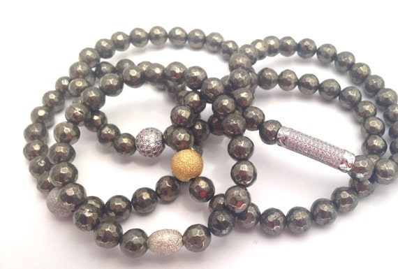 Pyrite Bracelet- Pyrite Gemstone Bracelet- 8mm Faceted Bead- Stack Pyrite Bracelet- Slip on Bracelet- Mothers Day Gift- Beaded Bracelets