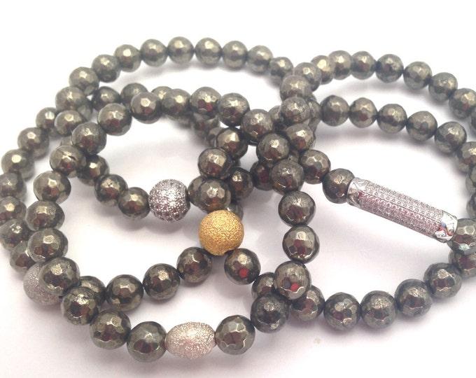 Pyrite Bracelet- Pyrite Gemstone Bracelet- 8mm Faceted Bead- Stack Pyrite Bracelet- Slip on Bracelet- Mothers Day Gift- Beaded Bracelets